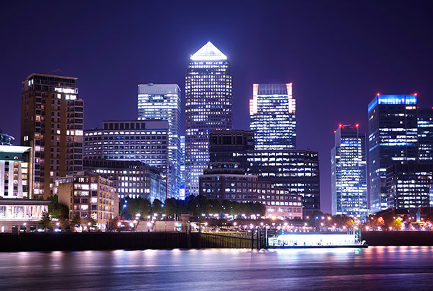 Landscape of Canary Wharf at night