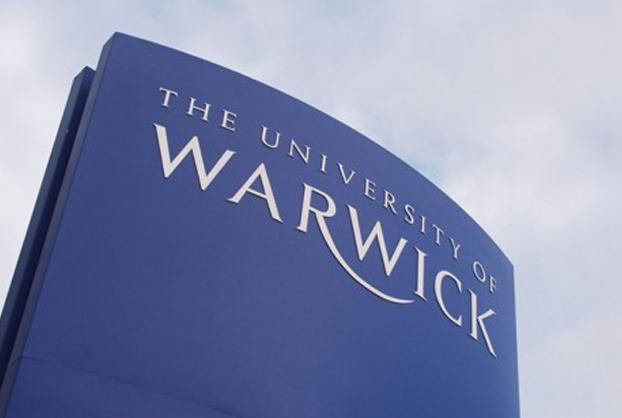 The university of warwick outside logo stand