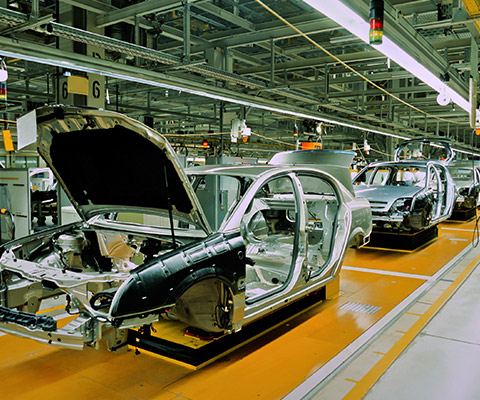 Industrial car manufacturing area